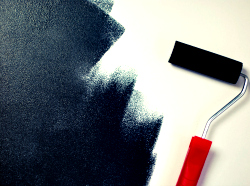 House and office wall painting with a paintroller